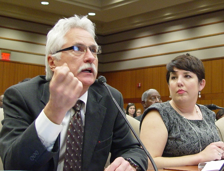 LFT President Steve Monaghan and Legislative Director Mary-Patricia Wray testify at Thursday's BESE hearing.